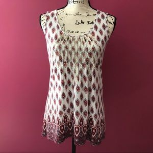 Charter Club Pleated Embellished Paisley Tank